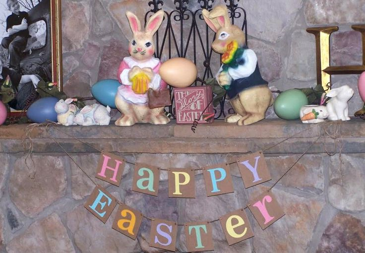 Happy Easter Decoration / Happy Easter Banner / Rustic /Easter Garland / Bunny Trail / Decoration Banner / Easter Photo Prop / READY TO SHIP by BannerCheerJR on Etsy https://www.etsy.com/listing/153490418/happy-easter-decoration-happy-easter