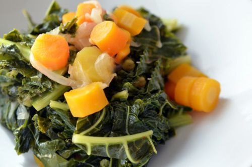 Pressure Cooker Braised Kale and Carrots | Award-Winning Paleo Recipes | Nom Nom Paleo. One comment says without pressure cooker just simmered for about 25 minutes