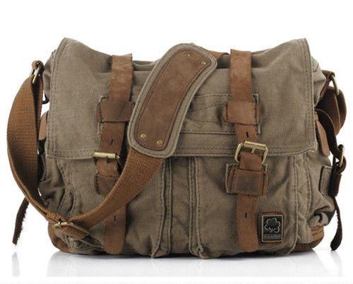 I Am Legend Men's Military Canvas Leather Satchel Laptop Shoulder Messenger Bag