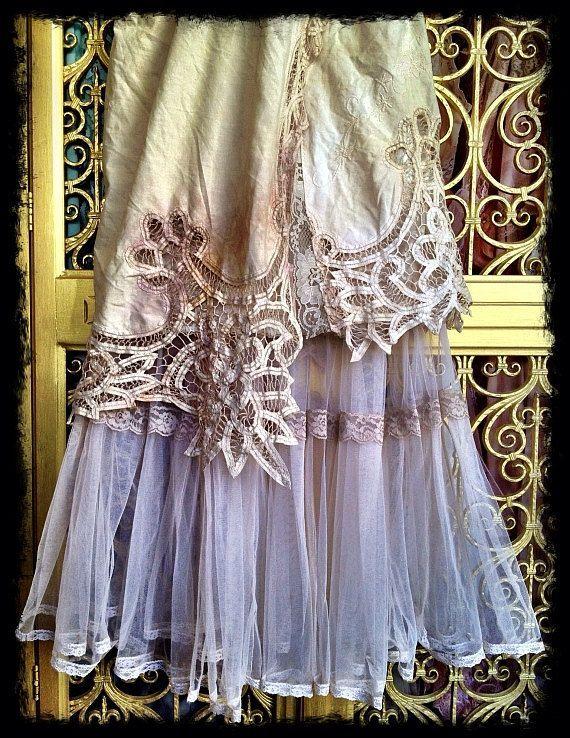 ivory tea stained & bone lace cutwork tulle boho maxi wedding dress by mermaid miss k. $140.00, via Etsy.