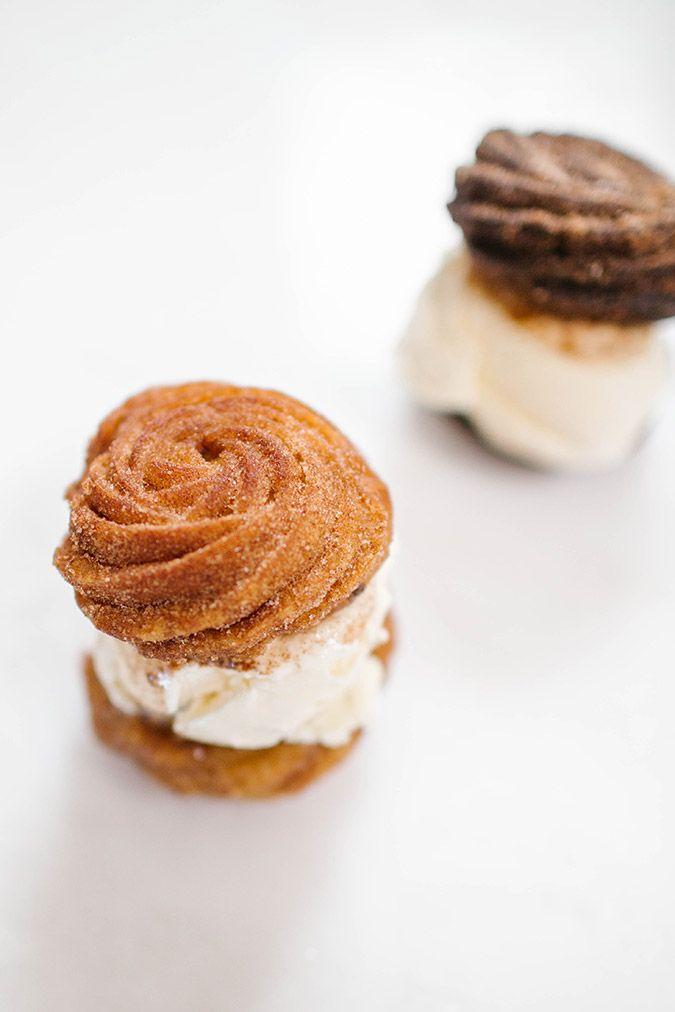 Churro ice cream sandwich recipes via LaurenConrad.com