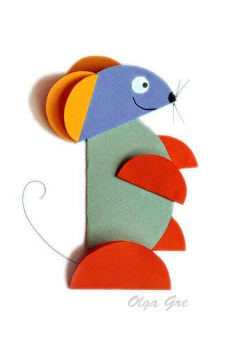 """Поделки из бумаги. Аппликация из кругов своими руками  """"Мышка"""""""