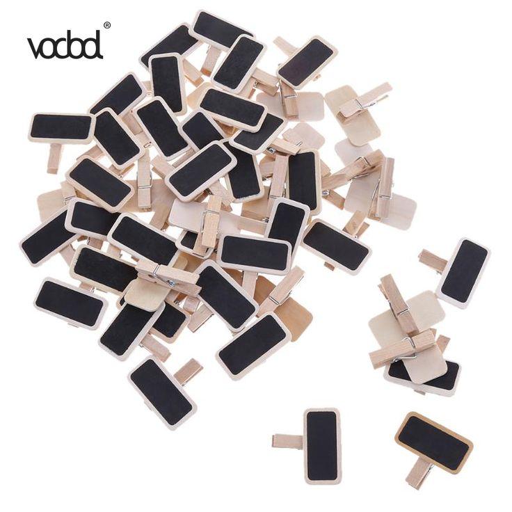 VODOOL 50pcs/lot Mini Wooden Blackboard Clamps Note Folder Photo Clip Mark  Chalkboards Clips Holder for Paper Photo DIY Decor