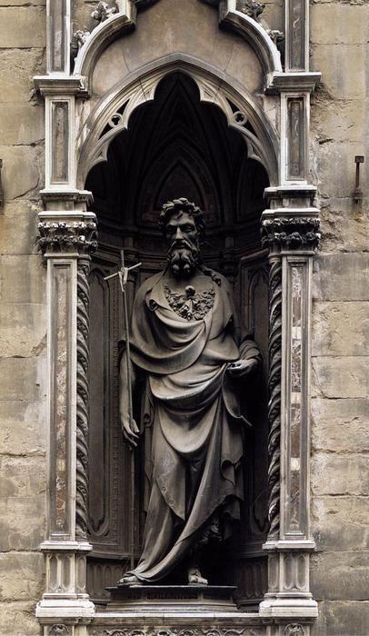 LORENZO GHIBERTI. San Giovanni Battista (fu uno dei protettori delle numerose arti di Firenze) 1412-1416. 270 cm ca. Materiale: bronzo. Luogo: Museo di Orsanmichele, Firenze