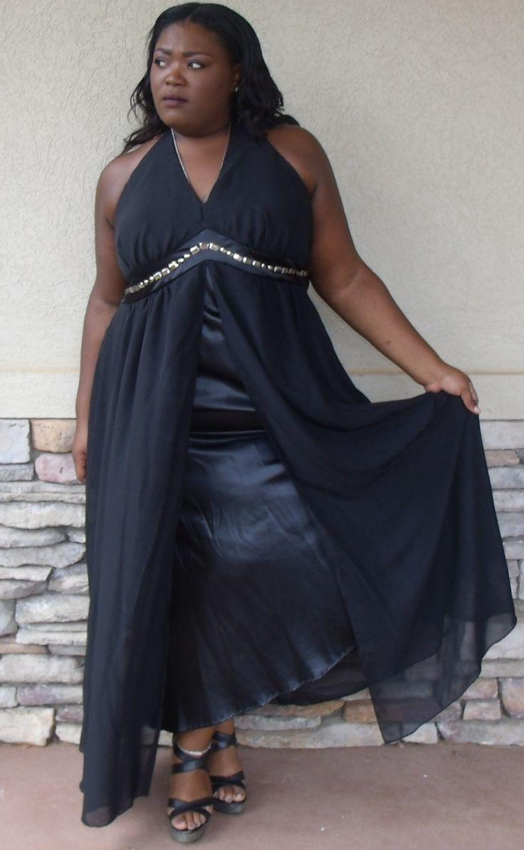 #LaneBryant Black Sleeveless Open Sheer Overlay Event Dress With Bead Design Size 22 #formalwear #plussize #plussizefashion