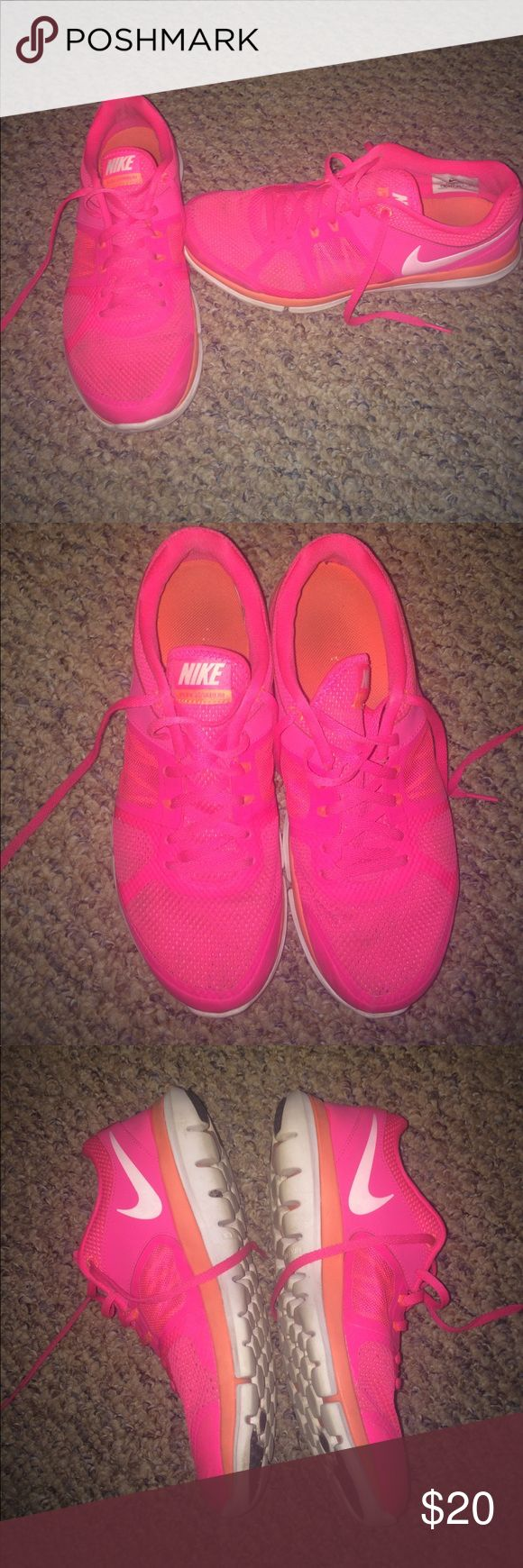 Nike flex hot pink sneakers Lots of life left , clean, Nike flex Nike Shoes Athletic Shoes