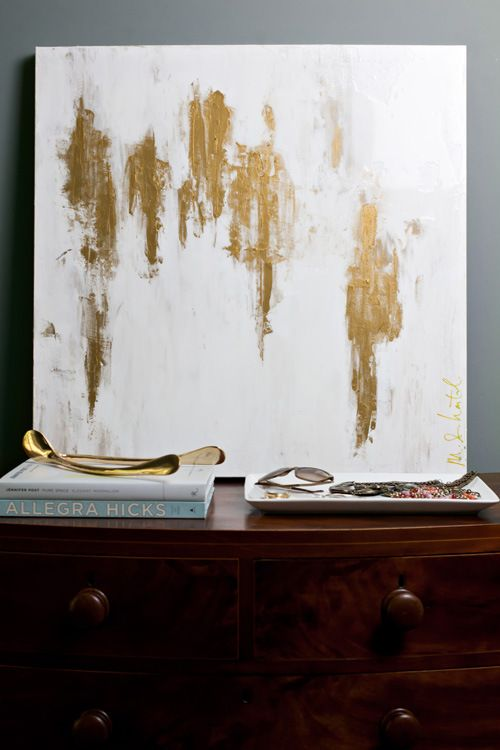 big gold leaf and white canvas art