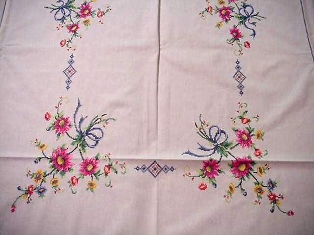 Vintage Large Embroidered Easter Tablecloth Spring Flowers Blue Bows Fab Floral | eBay