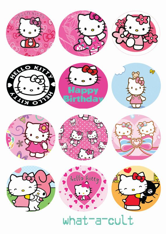 12 x hello kitty cake / muffin toppers digital by WHATaCULT