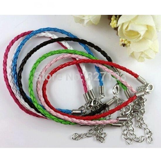 New Fashion Jewelry Leather Bracelets 100pcs Blending Braid Leather Cord Bracelets & Bangles Rope DIY Jewelry Fitting 18cmS2026
