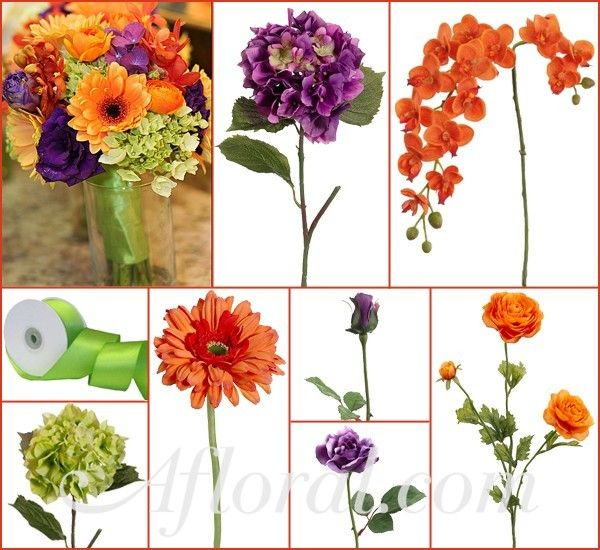 Purple Hydrangea, Open & Bud Roses, Orange Orchids, Gerbera Daisies, & Ranunculus and Green Hydrangea.  Finish your bouquet with Green Satin Ribbon.