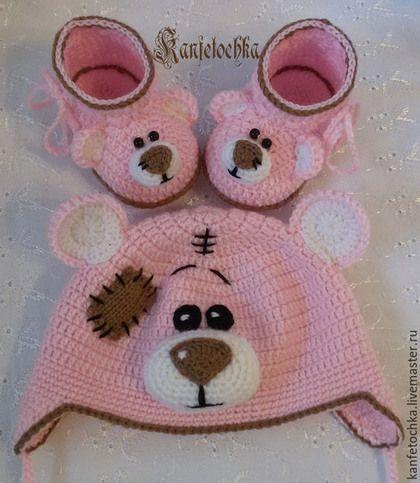 """Для новорожденных, ручной работы. Ярмарка Мастеров - ручная работа. Купить Комплект """" Мишка Тедди"""".. Handmade. Бледно-розовый"""