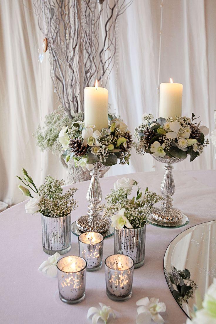 winter table flowers - silver mercury glass vases - Flower by Laurel Weddings - Image by @Alex Leichtman Davies