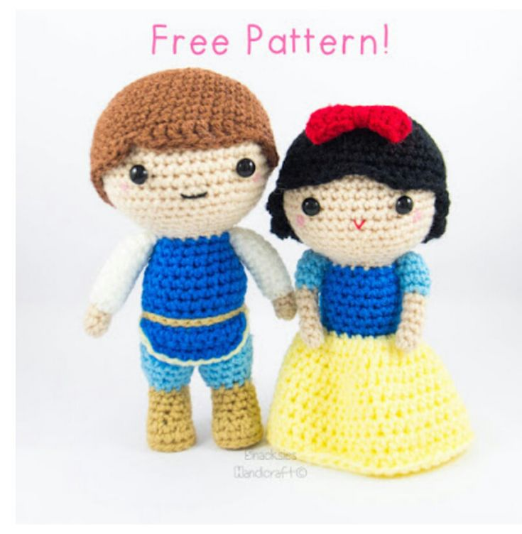 Snow White and Prince Amigurumi Pattern (Free) ~ Snacksies Handicraft Cornersnacksieshandic...