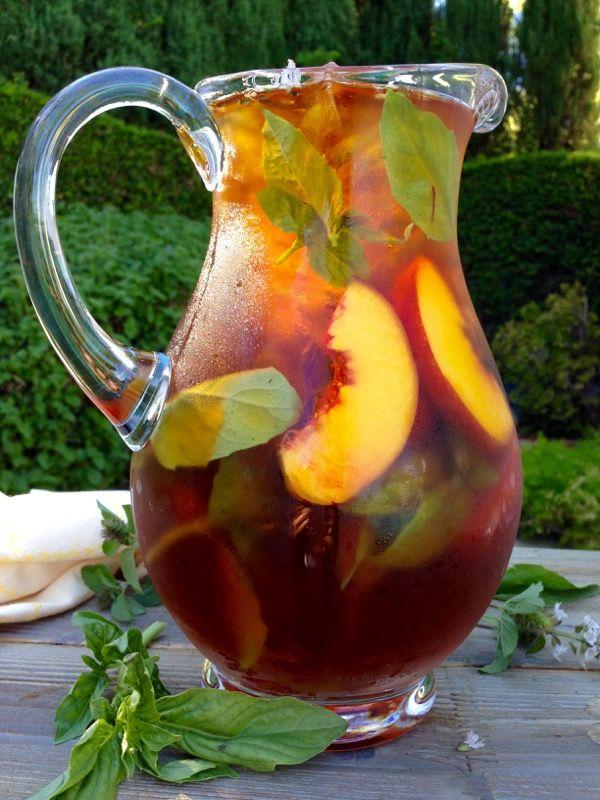 Healthy Skin Iced Saffron Tea with Peach and Basil