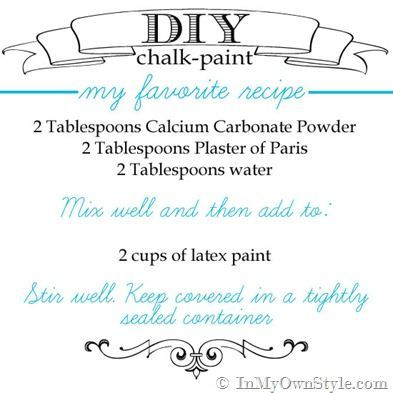 Smooth-and-Most-Durable-Chalk-Paint-Recipe...the best recipe for painting high use pieces, like kitchen tables & outdoor furniture. This is the mix I use. A combo of CC & PoP. Calcium Carbonate Powder creates a smooth mix w/ no graininess.  I use DAP Plaster of Paris – it is very smooth.