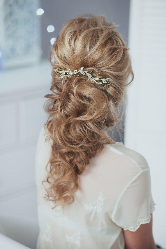 Loose curls + Twig Bridal Hair Piece