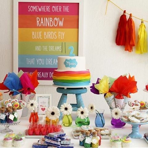 Festinha Rainbow muito linda, adorei! Por @leballonfestas ❤️ #kikidsparty