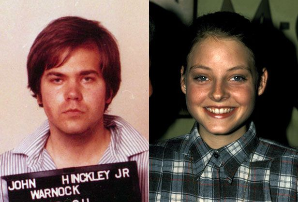 The son of an oil executive, John Hinckley, Jr. became obsessed with Jodie Foster after seeing her in Taxi Driver.  He stalked her, then shot President Ronald Reagan in 1981 to get her  attention. Hinckley was found not guilty by reason of insanity, and has  been in a psychiatric institution ever since.