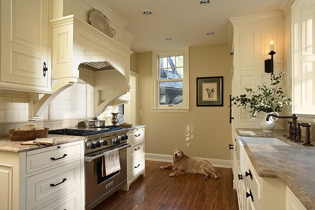 "Paint Colors: Cabinet Paint color is ""White Tie"" by Farrow & Ball. Wall Paint Color is ""String No. 8″ also by Farrow & Ball."