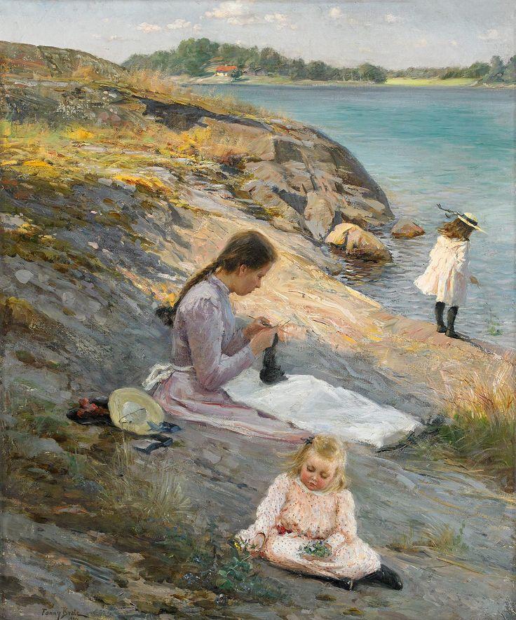 https://flic.kr/p/ArByEu   Fanny Brates 'Sommaridyll' (Summer holiday) 1894   Fanny Ingeborg Matilda Brate (1862–1940)  Swedish painter. Her paintings influenced Carl Larsson's watercolors of idyllic family life. Oil on canvas 77 x 64 cm