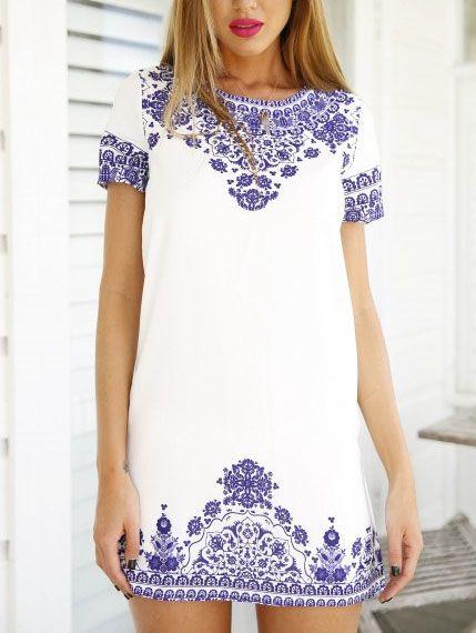 Short Sleeve Vintage Blue And White Print Pattern Dress