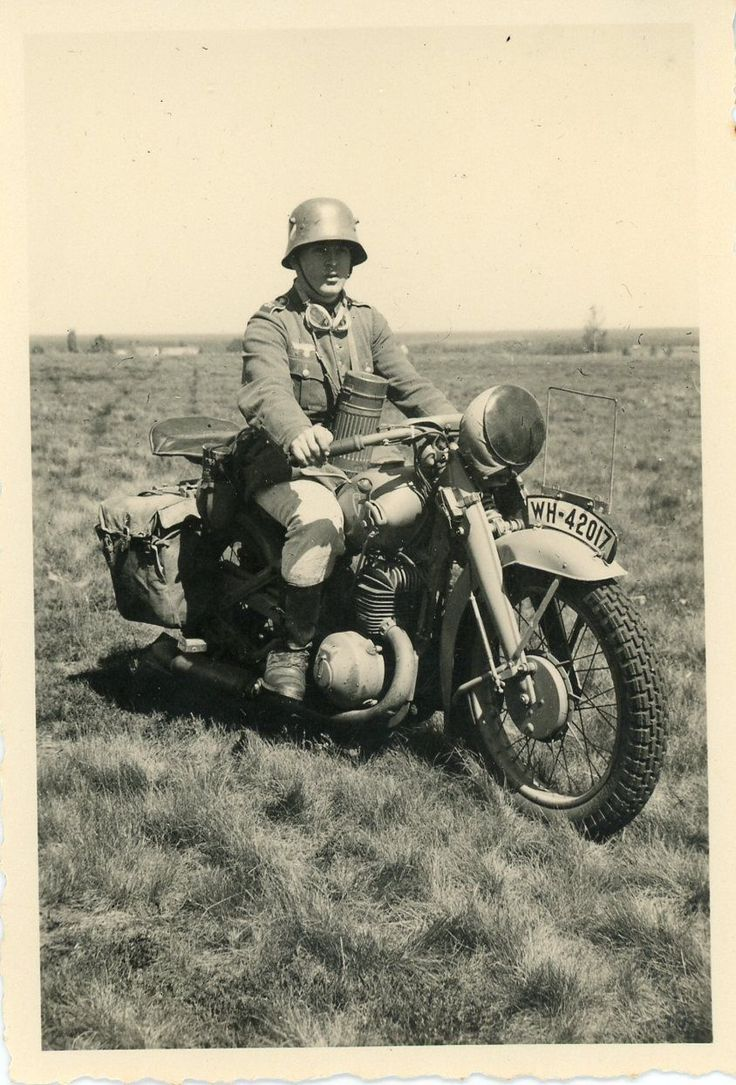 "A German army motorcyclist. Note the ""WH"" (""Wehrmacht Heer"") registration plate. Via Jedem das seine"