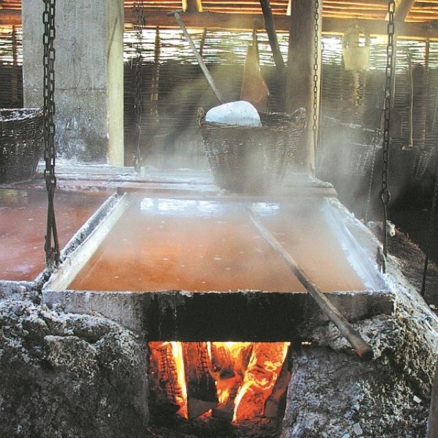 Making salt at the salt works, Læsø Denmark