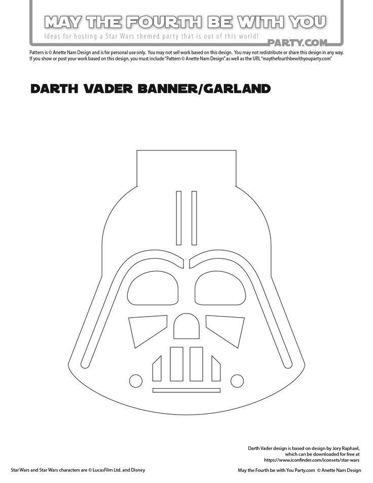 DIY Star Wars Party Garland/Flags with Yoda, Stormtrooper and Darth Vader /// We…