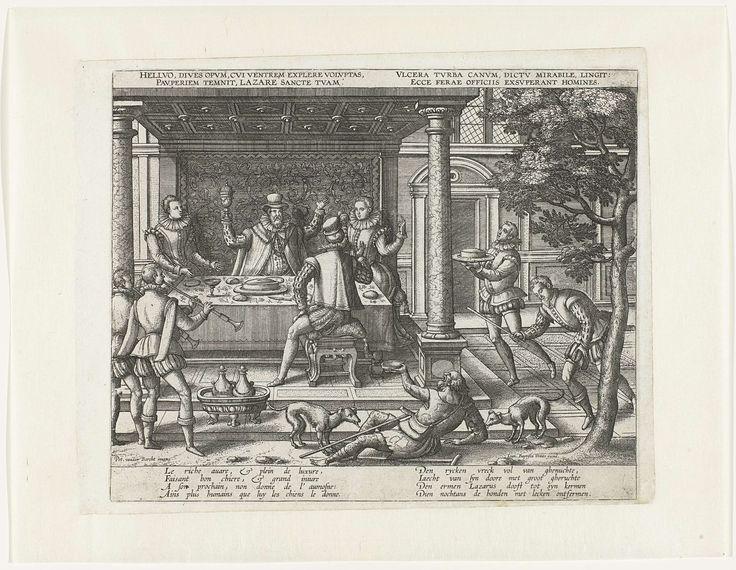 Pieter van der Borcht (I) | De arme Lazarus bedelt aan de feestdis van de rijke man, Pieter van der Borcht (I), Johannes Baptista Vrints (I), c. 1575 - c. 1600 | De rijke man, met twee dames en een heer, zittend aan een banket. Rechtsvoor twee muzikanten die een blaasinstrument bespelen. Links komt een dienaar aanlopen met een pastei op een schaal. Op de voorgrond, in de tuin, ligt de arme Lazarus. Hij houdt een nap omhoog. Een hond likt zijn wonden. Met vier regels onderschrift in het Frans…