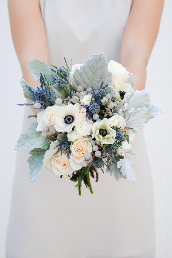 White Wedding Bouquet with anemones and dusty miller silk wedding bouquet gray bridal bouquet winter bouquet