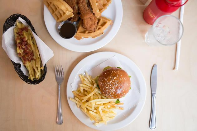 The Mr Big Stuff (Johannesburg) menu includes quick-to-make, simple and delicious dishes, including home-style burgers and fries, fried chicken, mac 'n cheese, sweet and savoury waffles, and pancakes.