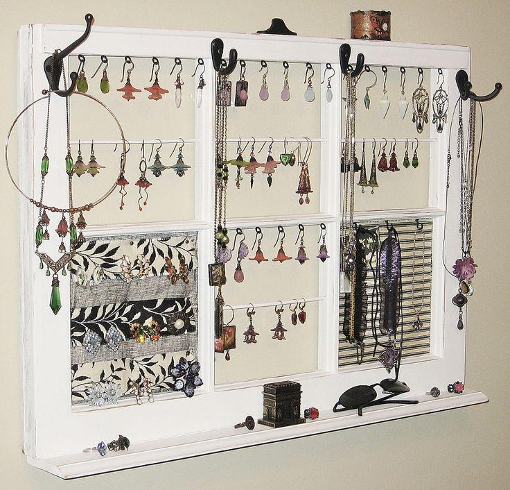 jewelry frame | Upcycled Decor Window Frame Wall Hanging Jewelry Organizer Display ...