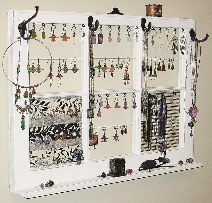 Upcycled decor window frame wall hanging jewelry organizer for Picture frame organization wall