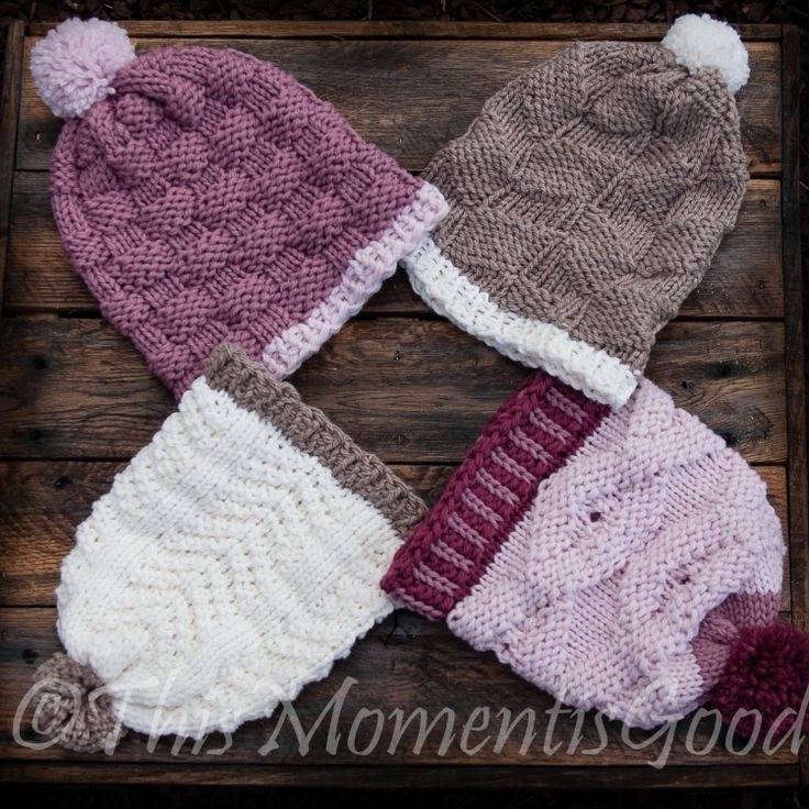 LOOM KNITTING PATTERNS (4) BEAUTIFUL HAT PATTERNS INCLUDED, BEGINNER FRIENDLY.