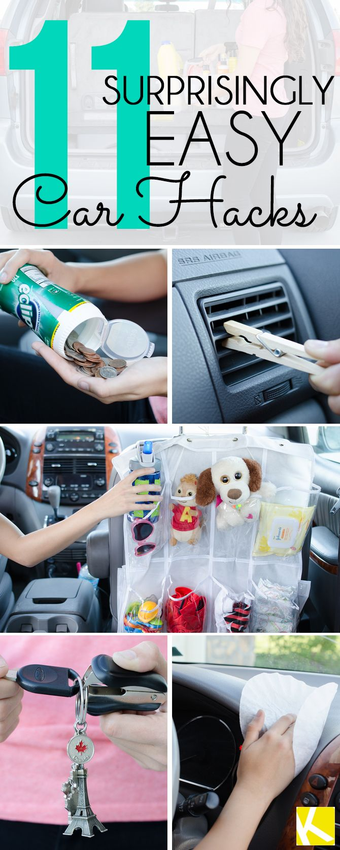 I've checked all these tips out for you- and they're really cool!!   11 Amazing Hacks to Keep Your Car Clean and Organized
