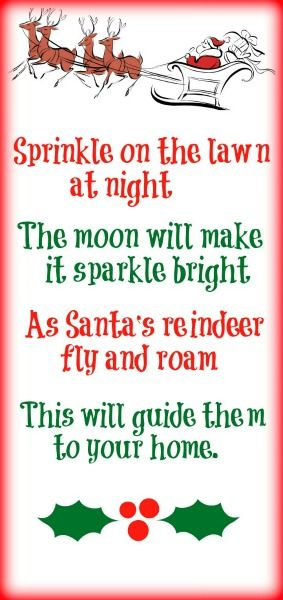Printable reindeer food poem-  just oats and glitter