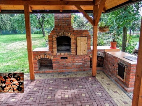 DIY outdoor fireplace with BBQ grill /brick/  - All