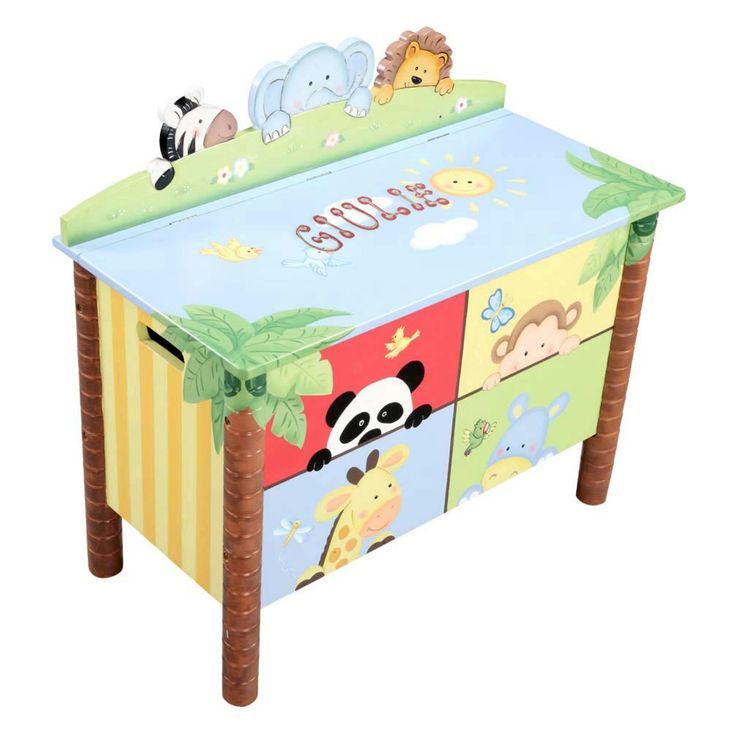 Fantasy Fields Sunny Safari Personalized Toy Box - W-8269AP-OCEAN EMBRACE