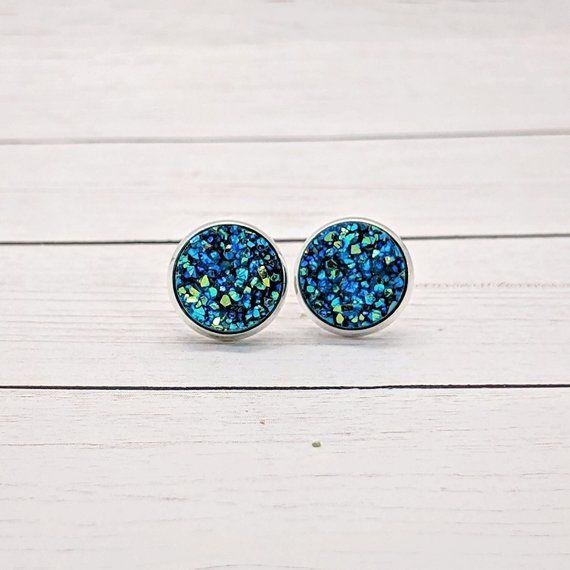 Gold Earrings Gift for Her Blue Druzy Earrings Jewelry Stud Druzy Earrings Faux Druzy Stainless Earring Druzy Stud Accessory 12mm