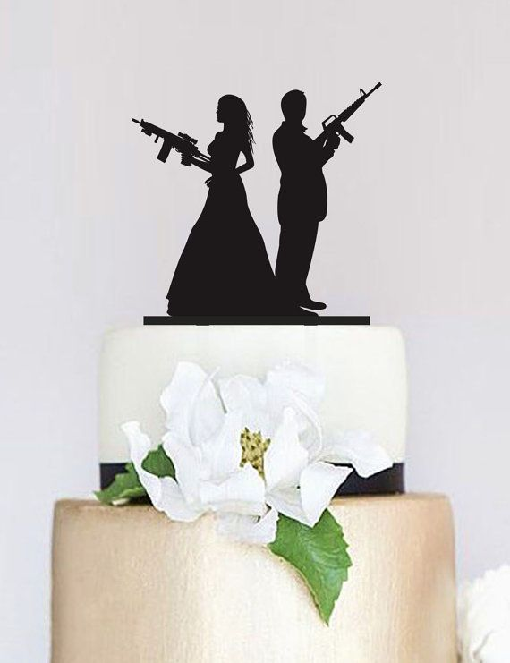 Gun Wedding TopperArmed Couple silhouette by SpecialDesignForYou