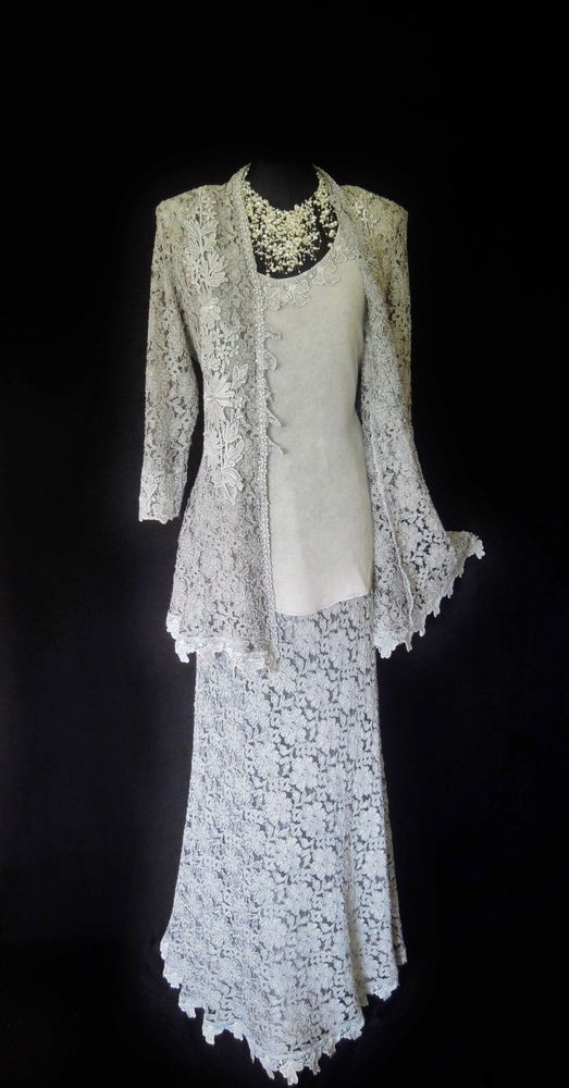 ANN BALON (Designer) Silvery Grey Lace Skirt, Top and Lace Jacket, Size UK14/16