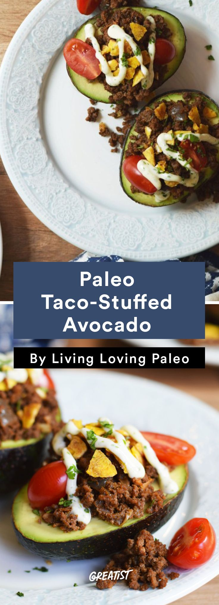 Why eat a plain avocado when you can have this delicious taco-stuffed avo? It's a great paleo-friendly, eat-anywhere snack.