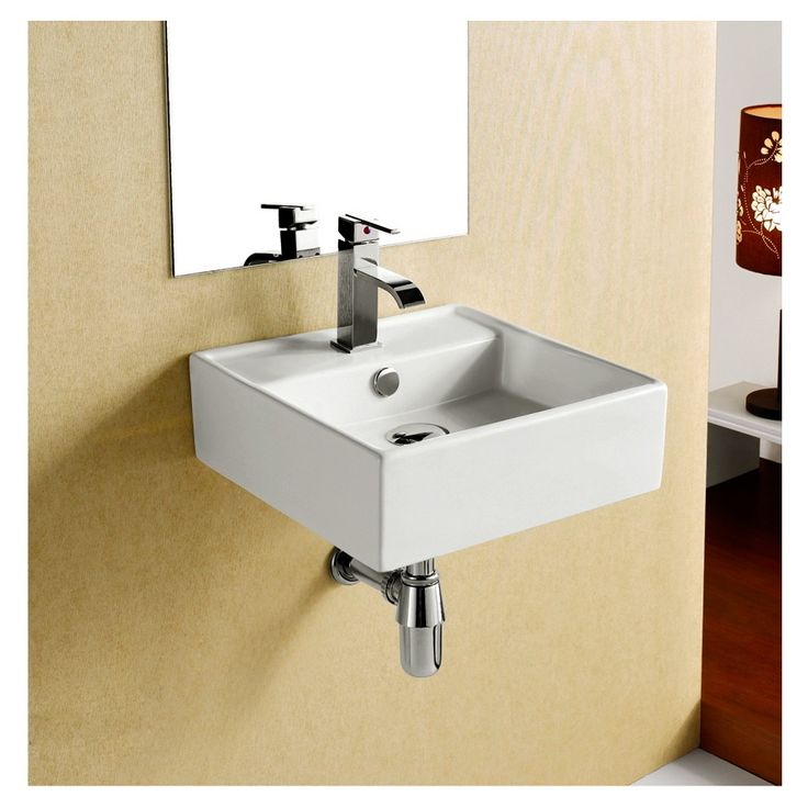 shop elanti white wall mount square bathroom sink with overflow at lowescom badezimmer waschbeckenlowessplbecken - Kohler Waschbecken Schneidebrett