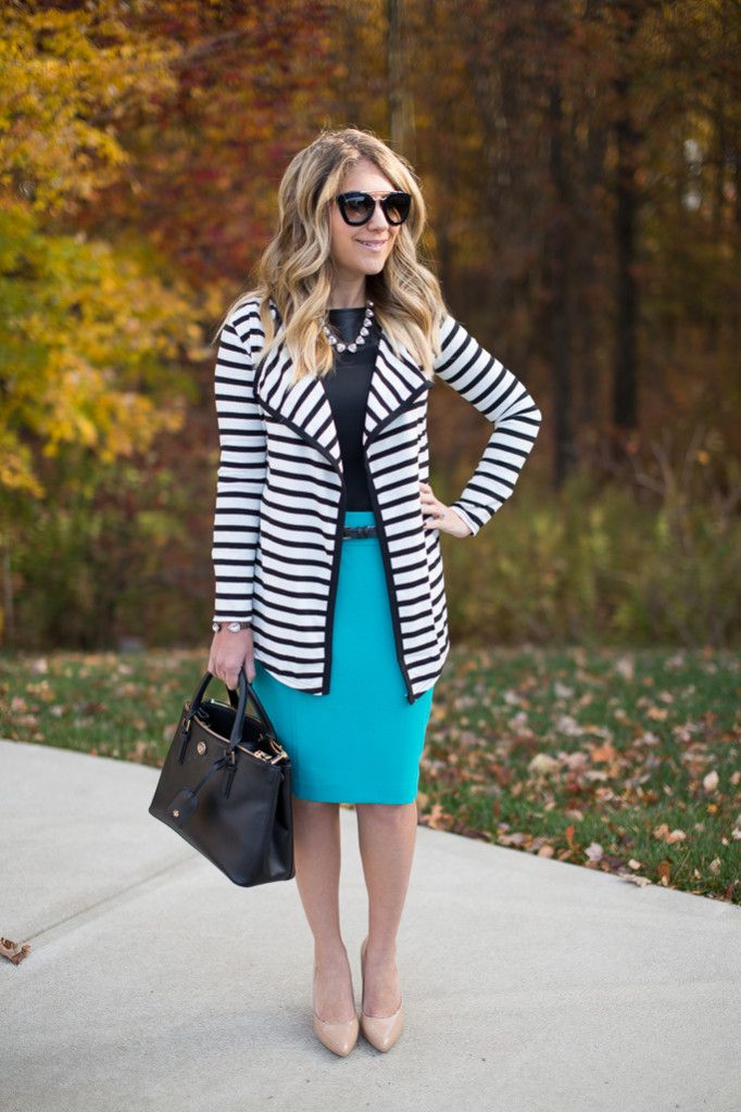 Electric blue skirt styled
