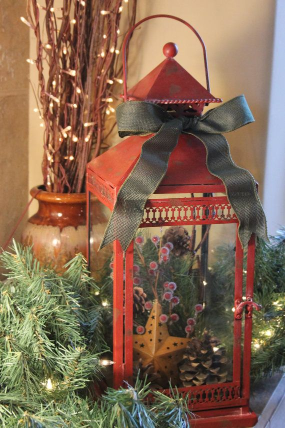 Large red metal rustic christmas lantern