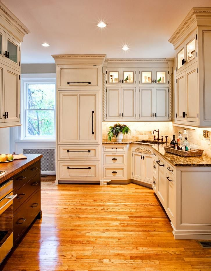 Interior Fine Looking Traditional Kitchen Design With Lovely White Cabinets And Corner Sink Pictures Brown Wooden Flooring Also Nice