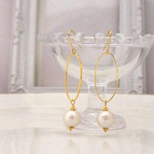 MiyabiGrace: Classy Hoop White Cotton Pearl Earrings Titanium Stud Earrings view more at fashionparadiso.com ✿ ☺