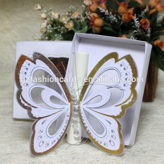 2015 Royal forma de la mariposa tarjeta de invitación de boda con la caja