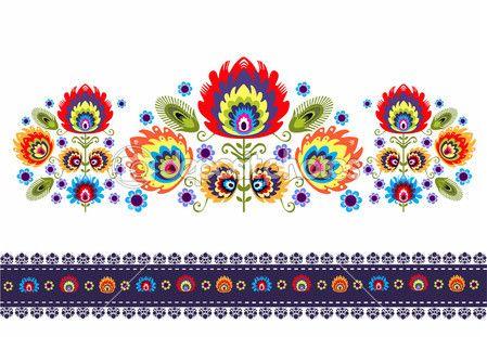 Народные картины с цветами — стоковый вектор #30769541
